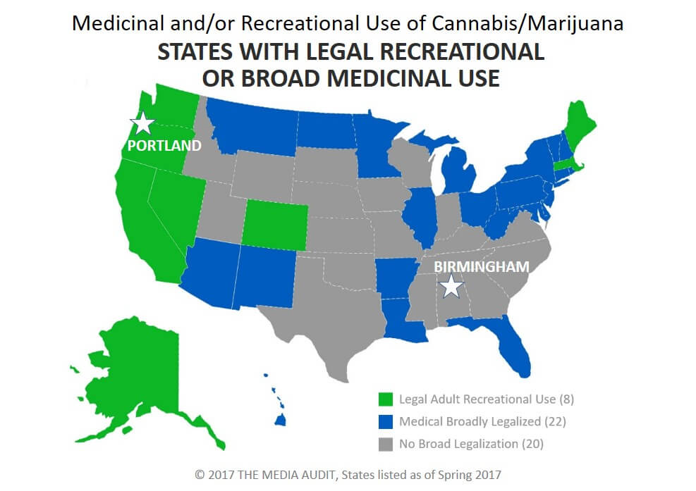 Consumer Research Around Cannabis BLUE RED STATES UNITED OVER - Us map of legal weed 2017